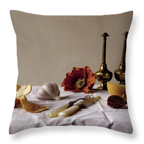 Orange Throw Pillow featuring the photograph Old Kitchen Still Life by Pch