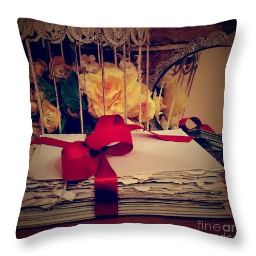 Letters Throw Pillow featuring the photograph Old Letters by Paola Baroni