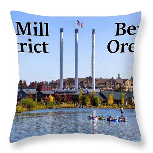 Old Mill District Throw Pillow featuring the photograph Old Mill District Bend Oregon by G Matthew Laughton