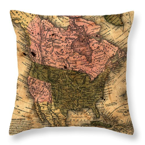 Outdoors Throw Pillow featuring the photograph Old North America Map by Belterz