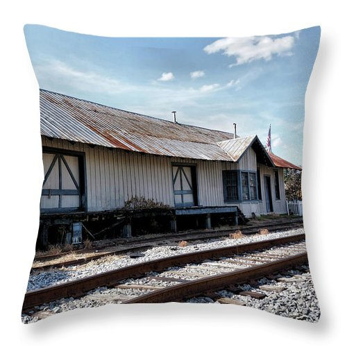 Railroad Depot Throw Pillow featuring the photograph Old Train Depot In Gray, Georgia 2 by John Trommer