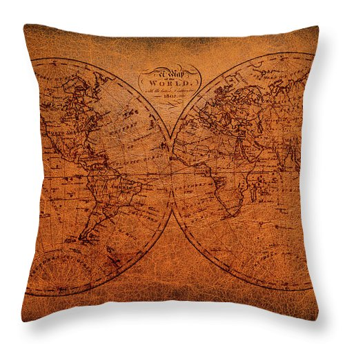 Old World Map Throw Pillow featuring the mixed media Old World Map by Trevor Slauenwhite