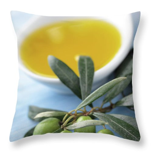 Close-up Throw Pillow featuring the photograph Olive Oil by Lilyana Vinogradova