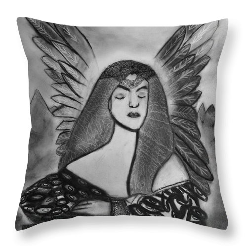 Charcoal Art Throw Pillow featuring the drawing Oracle by Nadija Armusik