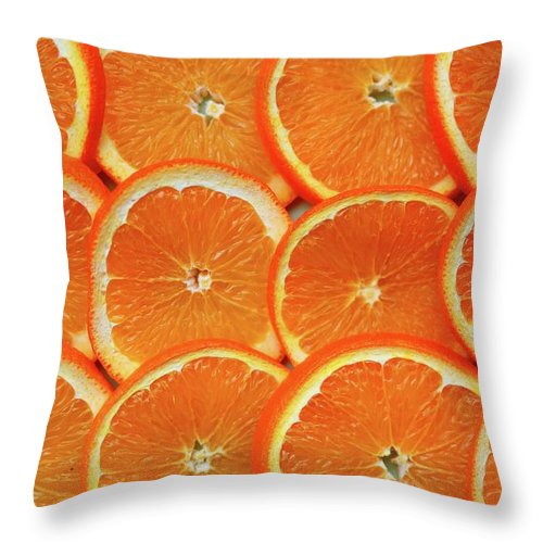 Orange Color Throw Pillow featuring the photograph Orange Fruit Slices by D. Sharon Pruitt Pink Sherbet Photography