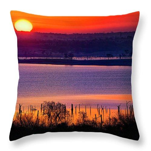 Scenics Throw Pillow featuring the photograph Orange Sunrise On Benbrook Lake by Dean Fikar