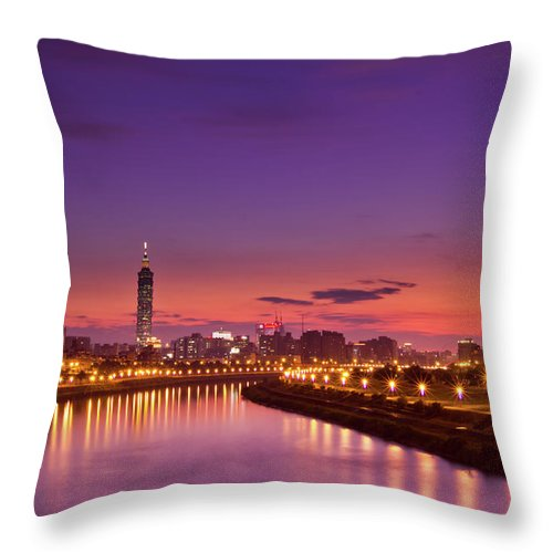 Orange Color Throw Pillow featuring the photograph Orange Sunset by © Copyright 2011 Sharleen Chao