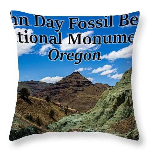 Oregon Throw Pillow featuring the photograph Oregon - John Day Fossil Beds National Monument Blue Basin by G Matthew Laughton