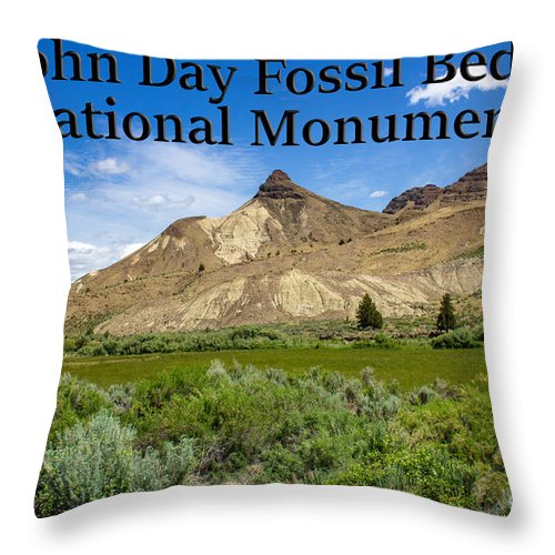 Oregon Throw Pillow featuring the photograph Oregon - John Day Fossil Beds National Monument Sheep Rock 1 by G Matthew Laughton