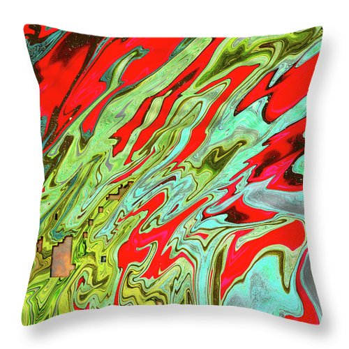 Abstract Throw Pillow featuring the digital art Orionian Watermelon Juice by Jack Entropy