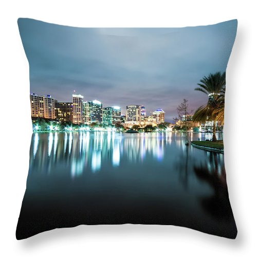 Outdoors Throw Pillow featuring the photograph Orlando Night Cityscape by Sky Noir Photography By Bill Dickinson
