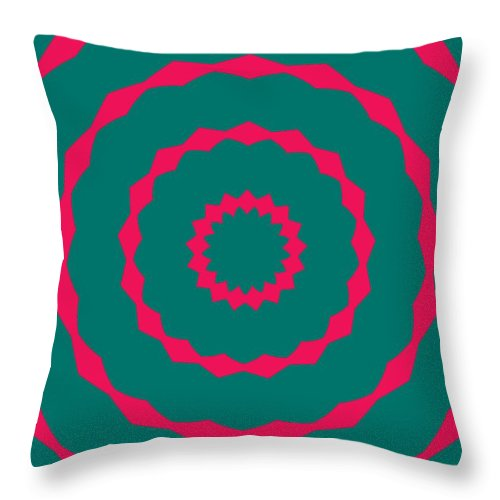 Round Throw Pillow featuring the painting Ornament Number Five by Alex Caminker