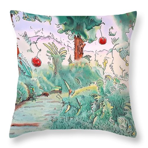 Eden Throw Pillow featuring the painting Out of Eden by Dave Martsolf