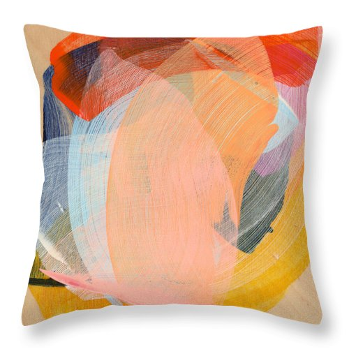 Abstract Throw Pillow featuring the painting Out Of The Blue 02 by Claire Desjardins