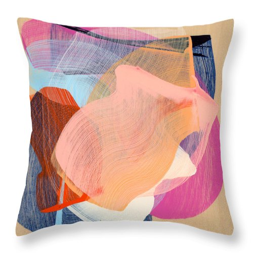 Abstract Throw Pillow featuring the painting Out Of The Blue 03 by Claire Desjardins