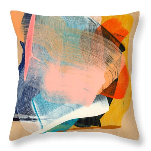 Abstract Throw Pillow featuring the painting Out Of The Blue 06 by Claire Desjardins