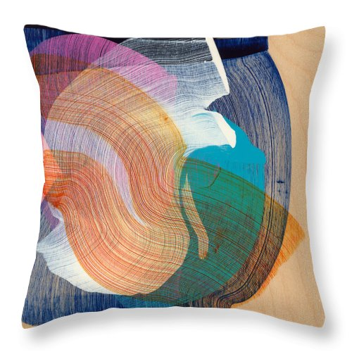 Abstract Throw Pillow featuring the painting Out Of The Blue 07 by Claire Desjardins