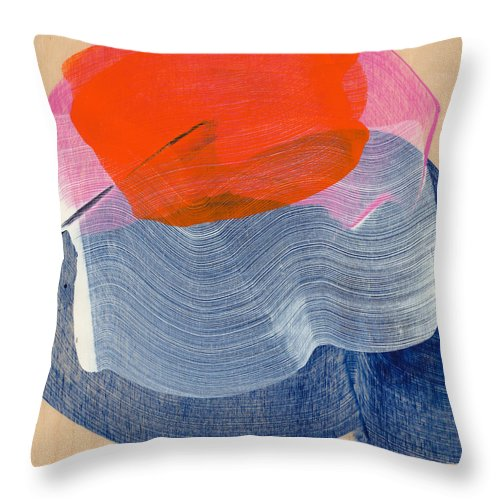Abstract Throw Pillow featuring the painting Out Of The Blue 08 by Claire Desjardins