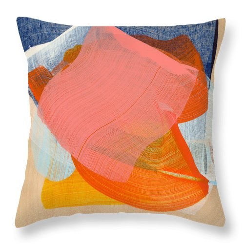 Abstract Throw Pillow featuring the painting Out Of The Blue 10 by Claire Desjardins