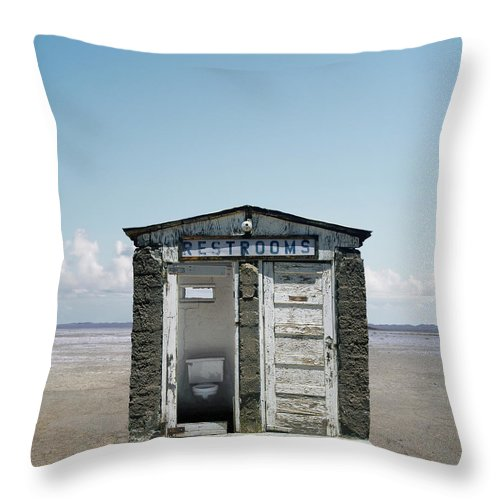 Outhouse Throw Pillow featuring the photograph Outhouse On Beach, Close-up by Ed Freeman
