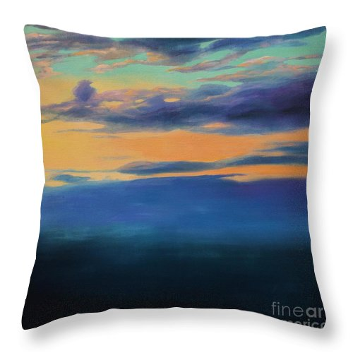 Lin Petershagen Throw Pillow featuring the painting Over The Sea by Lin Petershagen