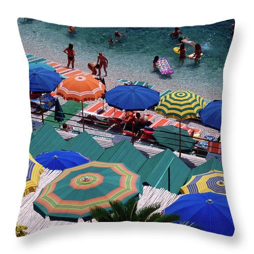 Shadow Throw Pillow featuring the photograph Overhead Of Umbrellas At Private by Dallas Stribley