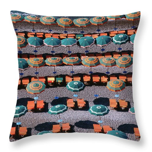 Shadow Throw Pillow featuring the photograph Overhead Of Umbrellas, Deck Chairs On by Dallas Stribley