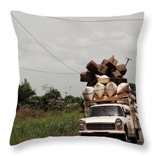 Transfer Print Throw Pillow featuring the photograph Overloaded Car by Rodriguez Art Work