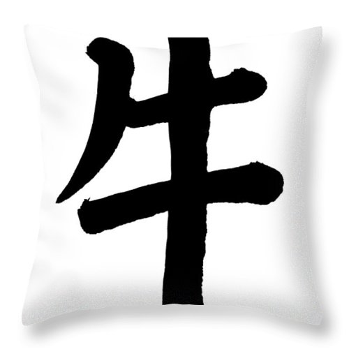 Chinese Culture Throw Pillow featuring the photograph Ox In Chinese, Astrology Sign by Blackred
