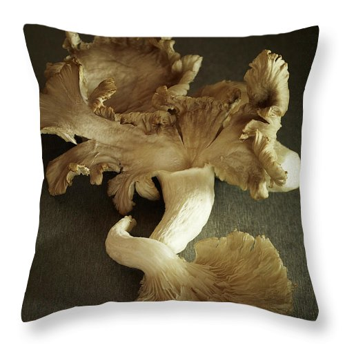 Edible Mushroom Throw Pillow featuring the photograph Oyster Mushrooms Still Life by Carin Krasner
