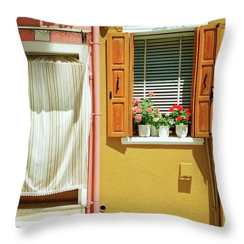 Hanging Throw Pillow featuring the photograph Painted House In Burano by Terraxplorer