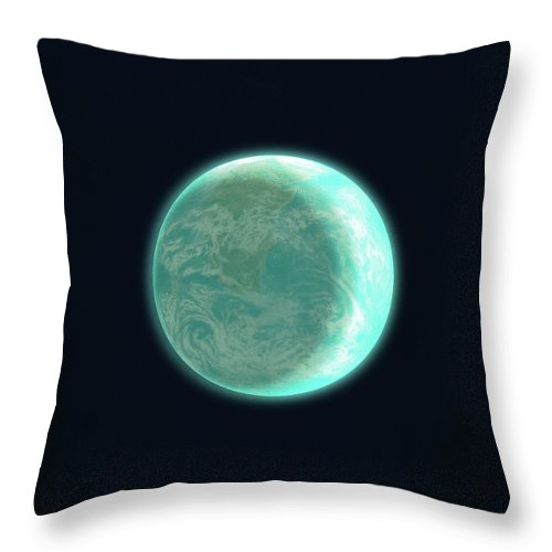 Space Throw Pillow featuring the drawing Pale Blue Dot by Eric Fan