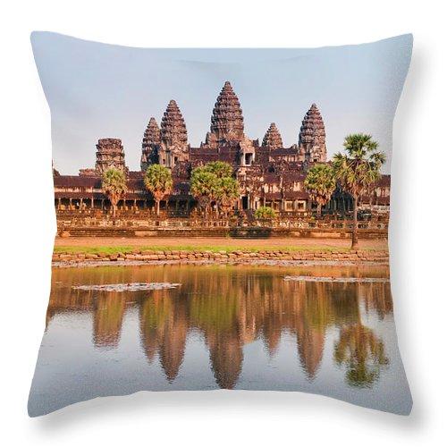 Hinduism Throw Pillow featuring the photograph Panorama Of Angkor Wat Cambodia Ruins by Leezsnow