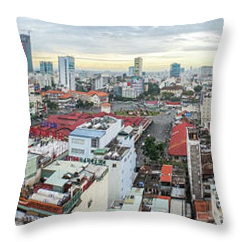 Ho Chi Minh City Throw Pillow featuring the photograph Panorama Of Ho Chi Minh City by By Thomas Gasienica