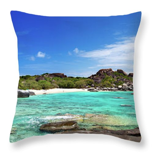 Scenics Throw Pillow featuring the photograph Panorama Of Spring Bay And The Baths by Cdwheatley