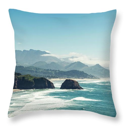 Scenics Throw Pillow featuring the photograph Panoramic Shot Of Cannon Beach, Oregon by Kativ