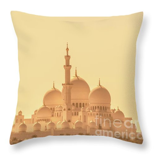 Abu Dhabi Throw Pillow featuring the photograph Panoramic View Of Abu Dhabi Grand Mosque by Delphimages Photo Creations