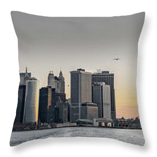 America Throw Pillow featuring the photograph Panoramic View Of Manhattan Island And The Brooklyn Bridge At Su by PorqueNo Studios
