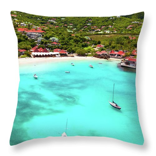 Water's Edge Throw Pillow featuring the photograph Panoramic View Of St.jean Bay In by Cdwheatley