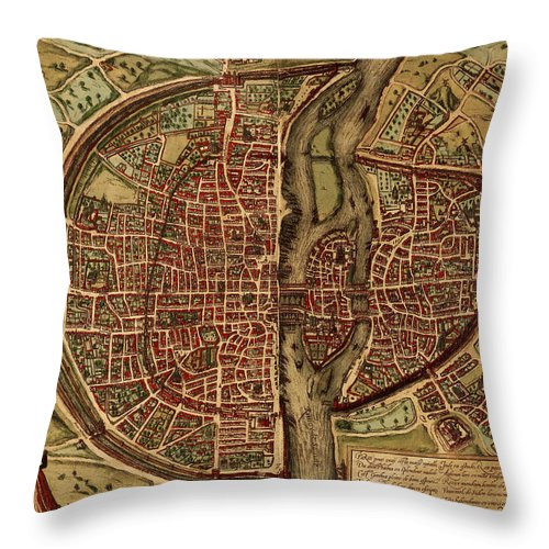 Scenics Throw Pillow featuring the digital art Paris Antique View by Nicoolay