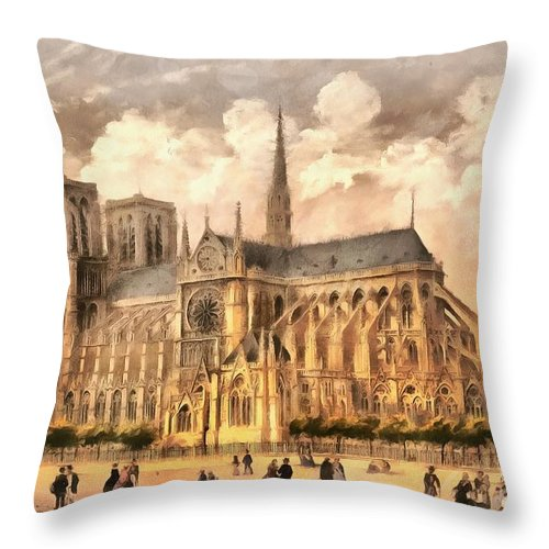 Paris Throw Pillow featuring the photograph Paris Notre Dame Cathedral France by Edward Fielding