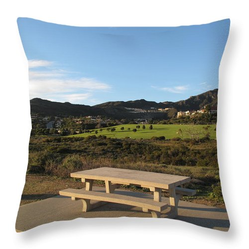 Tranquility Throw Pillow featuring the photograph Park Bench In Malibu by Marianna Sulic