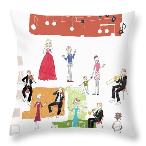 People Throw Pillow featuring the digital art Party Image by Daj