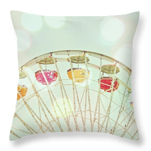 Hanging Throw Pillow featuring the photograph Pastel Ferris Wheel by Joyhey