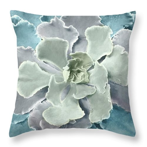 Succulents Throw Pillow featuring the mixed media Pastel Succulent by Lori Deiter