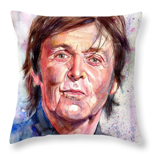 Paul Throw Pillow featuring the painting Paul McCartney Watercolor by Suzann Sines
