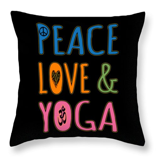 Cool Throw Pillow featuring the digital art Peace Love Yoga by Flippin Sweet Gear