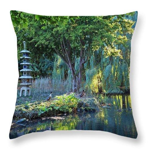 Japanese Garden Throw Pillow featuring the photograph Peaceful Oasis - Japanese Garden Lake by Gill Billington