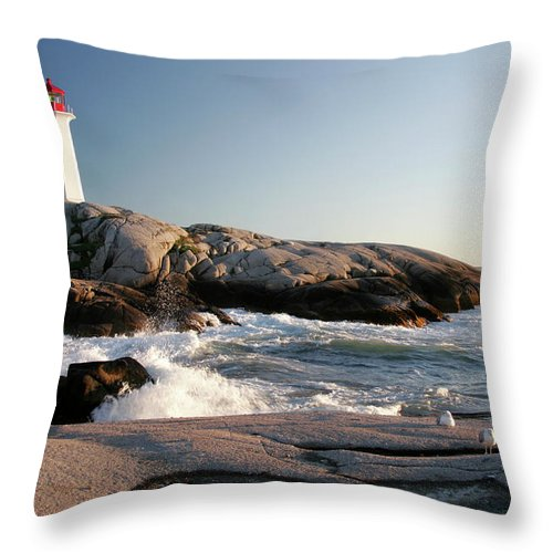 Water's Edge Throw Pillow featuring the photograph Peggys Cove Lighthouse & Waves by Cworthy