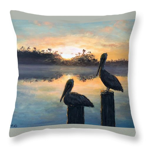 Pelican Throw Pillow featuring the painting Pelican Sunrise by Paul Emig
